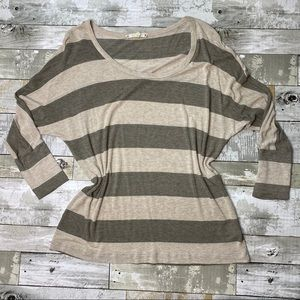 Joie soft 3/4 sleeve cream/brown striped blouse